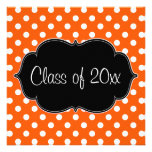 Orange Polka Dot Graduation Announcement