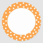 Orange polka dot label round stickers