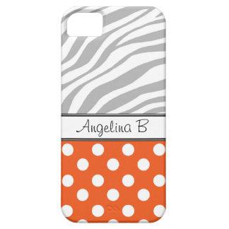Orange Polka Dot Light Zebra Print iPhone 5 Case