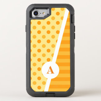 Orange Polka Dots and Stripes OtterBox Defender iPhone 8/7 Case