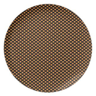 Orange Polka Dots on Black Plate