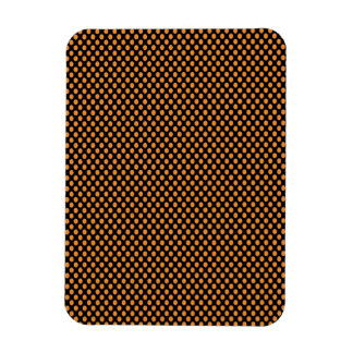 Orange Polka Dots on Black Rectangular Photo Magnet