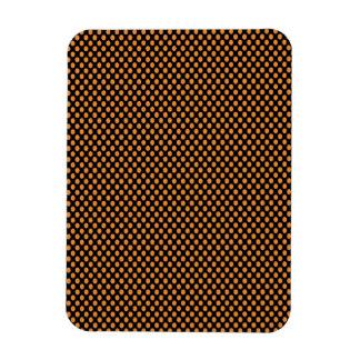 Orange Polka Dots on Black Rectangular Photo Magnet