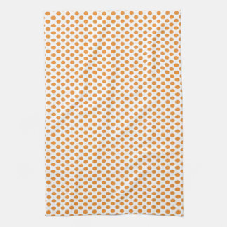 Orange Polka Dots on White Tea Towel