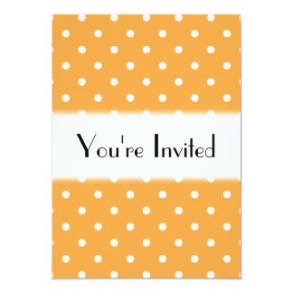 Orange Polka Dots Pattern. 13 Cm X 18 Cm Invitation Card