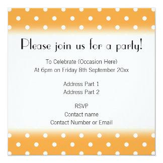 Orange Polka Dots Pattern. 13 Cm X 13 Cm Square Invitation Card