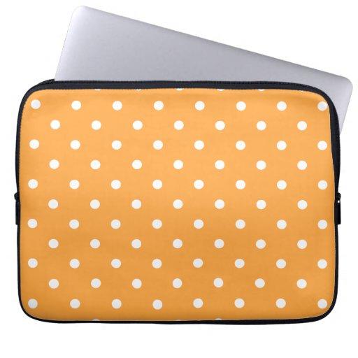 Orange Polka Dots Pattern. Laptop Computer Sleeves