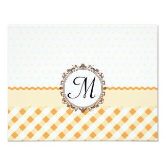 Orange Polkadots, Checks and Stripes with Monogram 11 Cm X 14 Cm Invitation Card