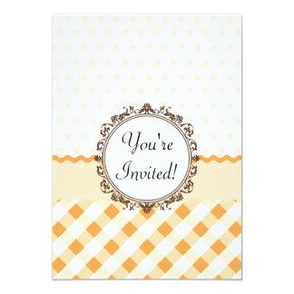 Orange Polkadots, Checks and Stripes with Monogram 13 Cm X 18 Cm Invitation Card