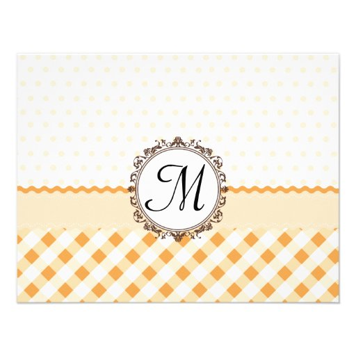 Orange Polkadots, Checks and Stripes with Monogram Personalized Announcement