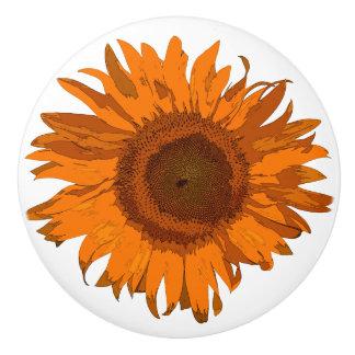 Orange Pop Art Sunflower Ceramic Knob