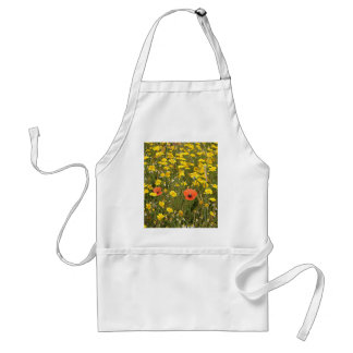Orange poppies and yellow daisies standard apron