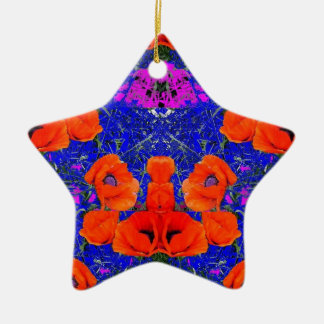 Orange Poppies & Blue Garden by SHARLES Christmas Ornament