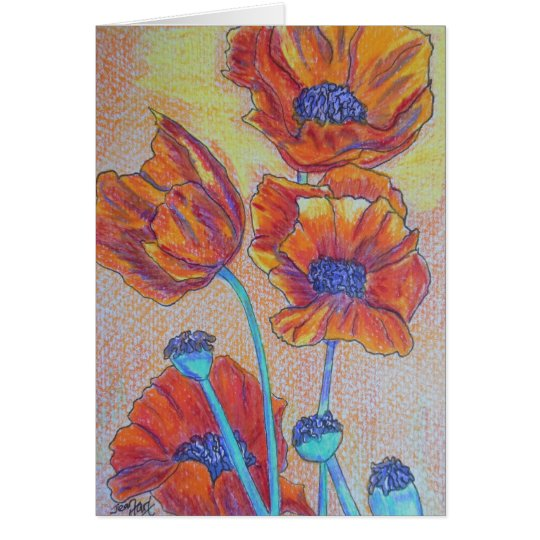 Orange Poppies Card