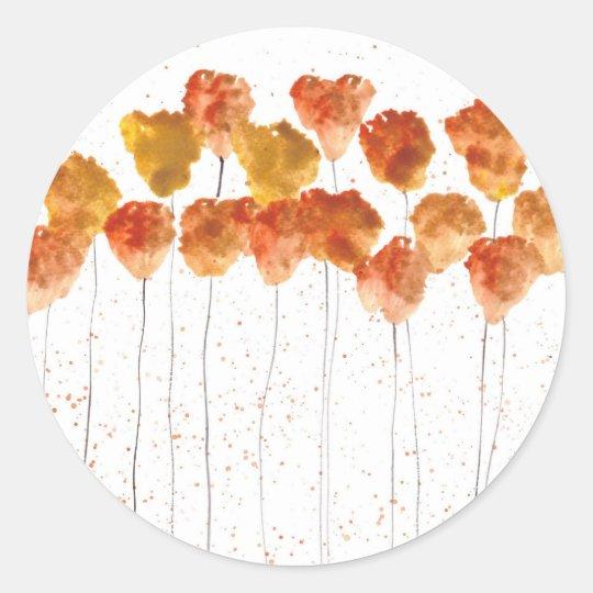 Orange poppies flowers classic round sticker