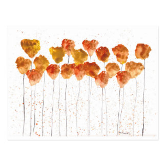 Orange poppies flowers postcard