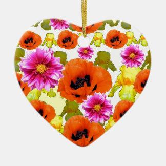 ORANGE POPPIES FUCHSIA DAHLIAS IRIS FLOWERS ART CERAMIC HEART DECORATION
