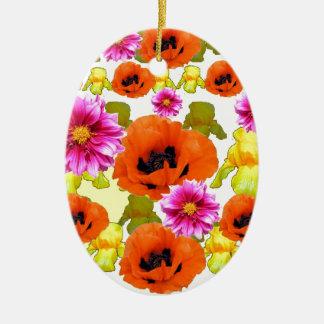 ORANGE POPPIES FUCHSIA DAHLIAS IRIS FLOWERS ART CERAMIC OVAL DECORATION