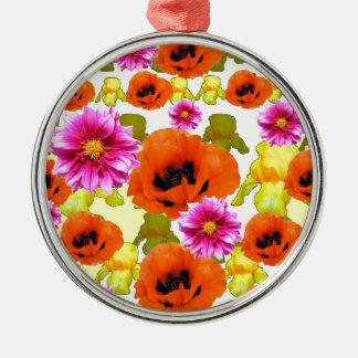 ORANGE POPPIES FUCHSIA DAHLIAS IRIS FLOWERS ART Silver-Colored ROUND DECORATION