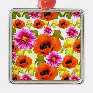 ORANGE POPPIES FUCHSIA DAHLIAS IRIS FLOWERS ART Silver-Colored SQUARE DECORATION
