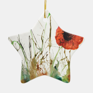 Orange Poppies in the grass Christmas Ornament