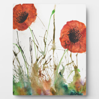 Orange Poppies in the grass Plaque