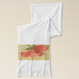 Orange poppies on a chevron background scarf