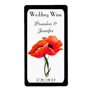 Orange Poppies Wedding Mini Wine Labels