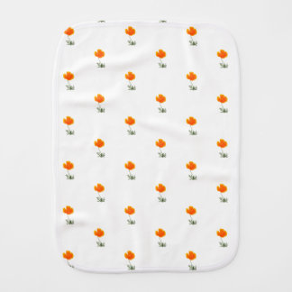 orange poppy burp cloth