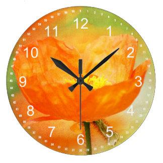 Orange Poppy Clock