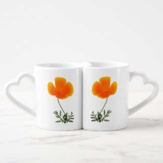 orange poppy coffee mug set