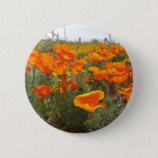 Orange Poppy Field of Flowers 6 Cm Round Badge