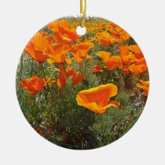 Orange Poppy Field of Flowers Christmas Ornament