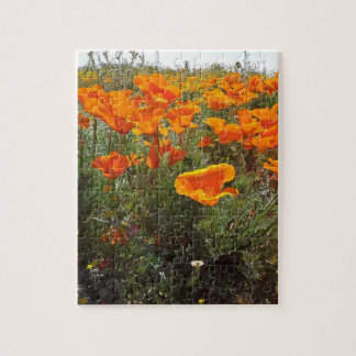 Orange Poppy Field of Flowers Jigsaw Puzzle