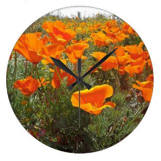 Orange Poppy Field of Flowers Large Clock