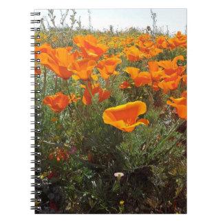Orange Poppy Field of Flowers Spiral Notebook