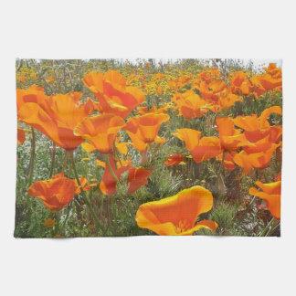 Orange Poppy Field of Flowers Tea Towel