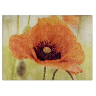 Orange poppy flower cutting board