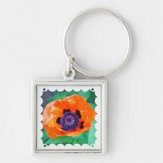 Orange Poppy Flower  Keychain