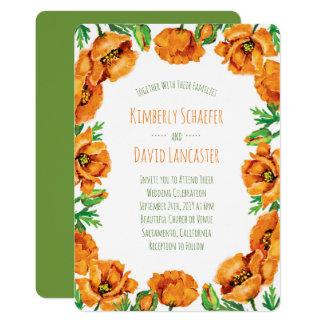 Orange Poppy Flower Wedding Card