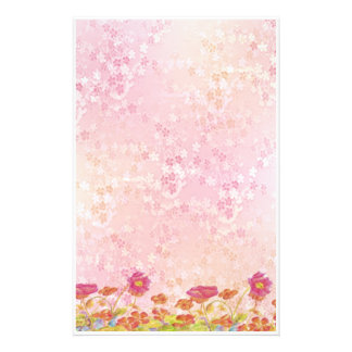 Orange Poppy Flowers Garden Pink Stationery