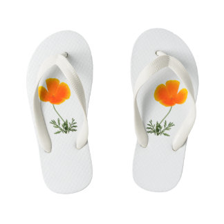 orange poppy kid's flip flops