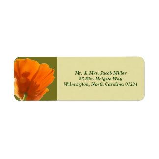 Orange Poppy Return Address Labels