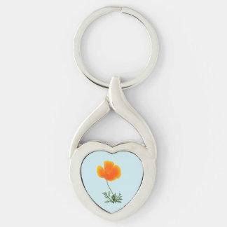 orange poppy Silver-Colored twisted heart key ring