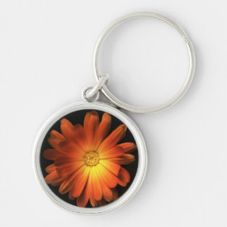Orange pot marigold keyring Silver-Colored round key ring