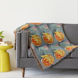 Orange Prickly Pear Cactus Bloom Throw Blanket