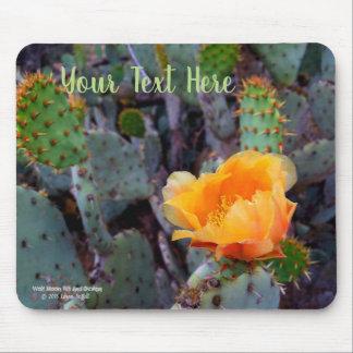 Orange prickly pear cactus blossom photo mouse mat