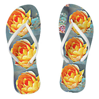 Orange Prickly Pear Flower Flip Flops