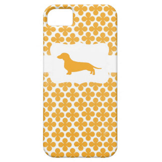 Orange Print w/Dachshund Barely There iPhone 5 Case