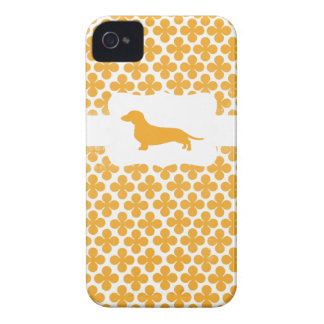 Orange Print w/Dachshund iPhone 4 Case-Mate Cases